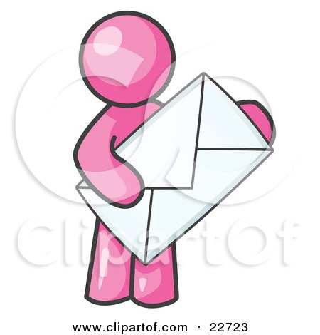 Clipart Illustration of a Pink Person Standing And Holding A Large Envelope, Symbolizing Communications And Email by Leo Blanchette