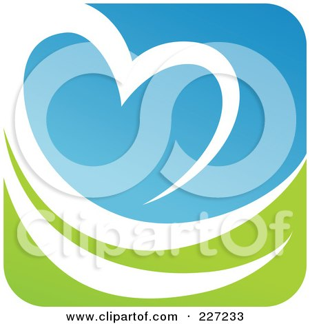 Royalty-Free (RF) Clipart Illustration of a Green, Blue And White Botanical Logo Icon - 5 by elena