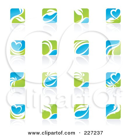 Royalty-Free (RF) Clipart Illustration of a Green, Blue And White Botanical Logo Icons And Reflections by elena