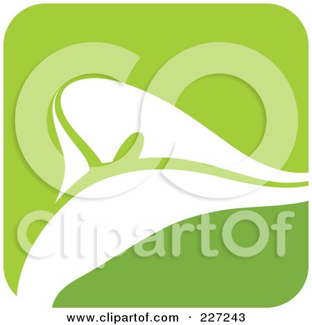 Royalty-Free (RF) Clipart Illustration of a Green And White Calla Lily Logo Icon by elena
