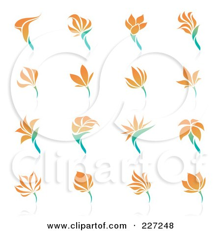 Royalty-Free (RF) Clipart Illustration of a Digital Collage Of Orange Flower Logo Icons by elena