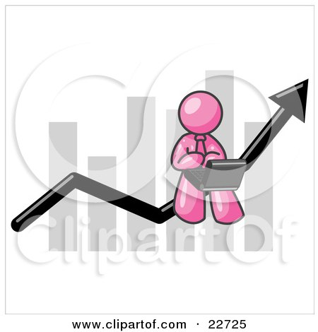 Clipart Illustration of a Pink Man Using a Laptop Computer, Riding the Increasing Arrow Line on a Business Chart Graph by Leo Blanchette