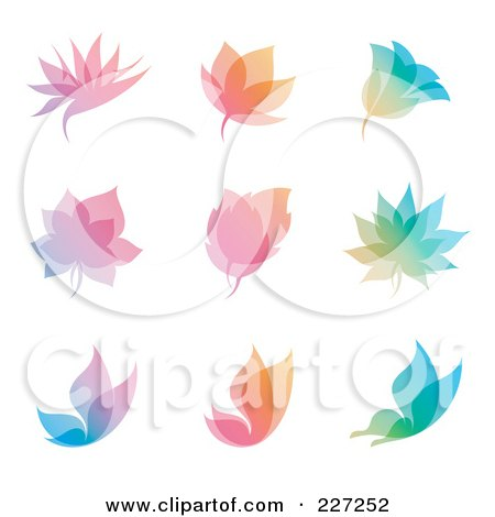 Royalty-Free (RF) Clipart Illustration of a Digital Collage Of Colorful Overlay Nature Icon Logos by elena