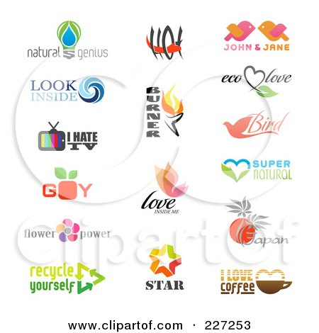 Royalty-Free (RF) Clipart Illustration of a Digital Collage Of Logo Samples - 1 by elena
