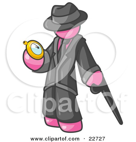 Clipart Illustration of a Pink Businessman Checking His Pocket Watch by Leo Blanchette
