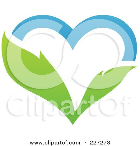 Royalty-Free (RF) Clipart Illustration of a Blue Sky And Green Leaf Heart Logo by elena