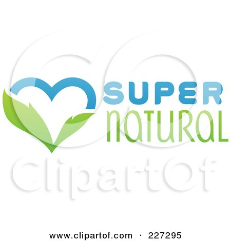 Royalty-Free (RF) Clipart Illustration of a Green And Blue Super Natural Heart Logo by elena