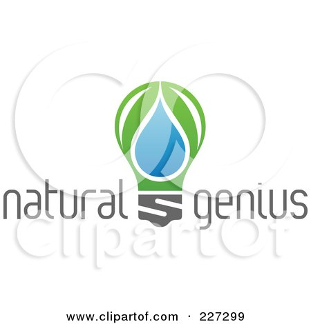 Royalty-Free (RF) Clipart Illustration of a Natural Genius Light Bulb Logo by elena