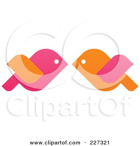 Orange And Pink Love Birds Kissing Posters, Art Prints