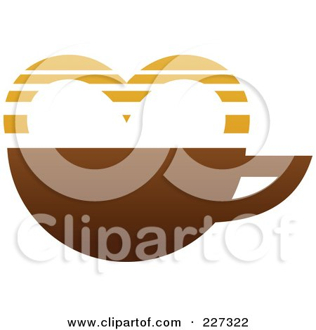 Royalty-Free (RF) Clipart Illustration of Coffee Logo With A Heart by elena