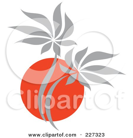 Royalty-Free (RF) Clipart Illustration of a Red And Gray Palm Tree Logo by elena