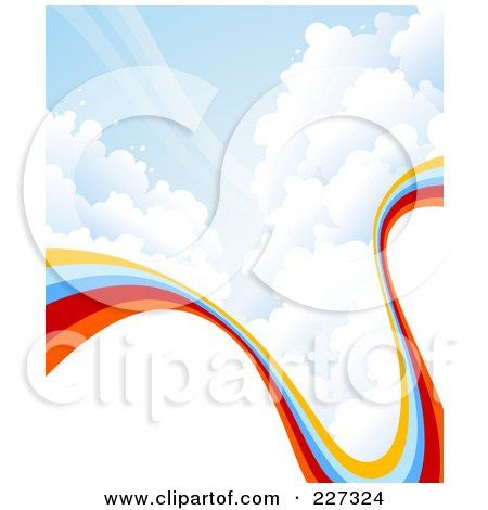 Royalty-Free (RF) Clipart Illustration of a Background Of A Curving Rainbow In A Cloudy Blue Sky, With White Copyspace by elena