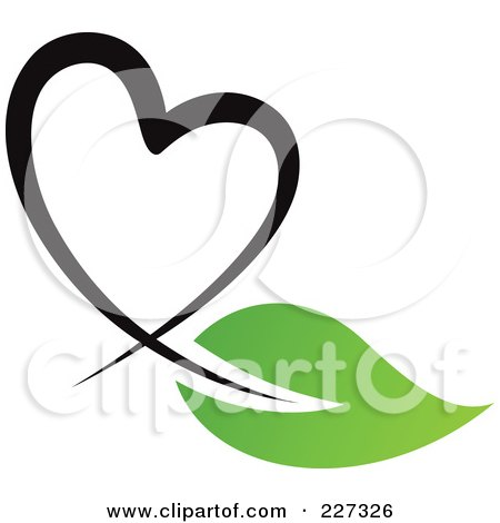 Royalty-Free (RF) Clipart Illustration of a Black Heart And Green Leaf Logo by elena