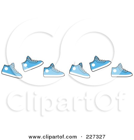 Royalty-Free (RF) Clipart Illustration of a Border Of Running Blue Sneakers by Johnny Sajem