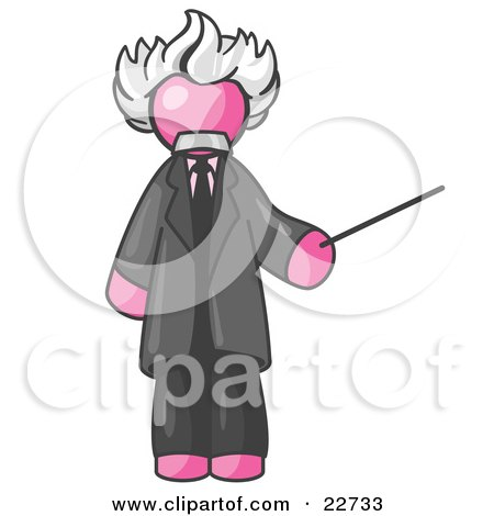 Clipart Illustration of a Pink Man Depicted as Albert Einstein Holding a Pointer Stick by Leo Blanchette