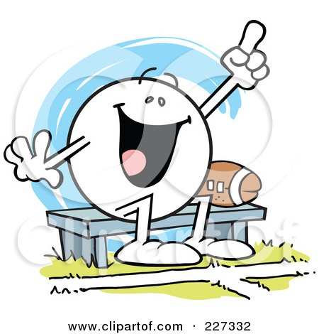 Royalty-Free (RF) Clipart Illustration of a Moodie Character Sitting By A Football On A Bench And Cheering by Johnny Sajem
