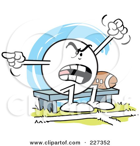 Royalty-Free (RF) Clipart Illustration of a Moodie Character Sitting By A Football On A Bench And Complaining by Johnny Sajem