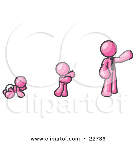 Clipart Illustration of a Pink Man in His Growth Stages of Life, as a Baby, Child and Adult by Leo Blanchette