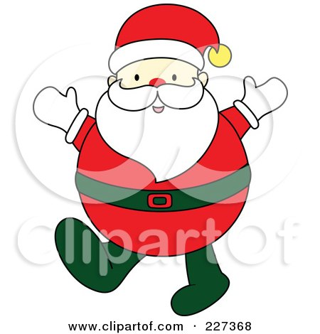Royalty-Free (RF) Clipart Illustration of a Chubby Santa Holding Up His Hands by Cherie Reve