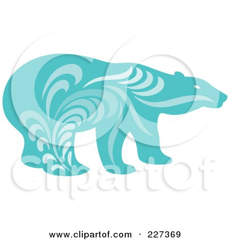 Royalty-Free (RF) Clipart Illustration of a Blue Polar Bear With Vintage Swirl Designs by Cherie Reve