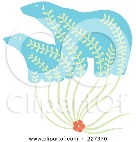 Royalty-Free (RF) Clipart Illustration of a Flower With Leaves Growing Up Into Polar Bears by Cherie Reve