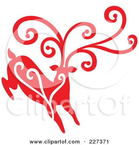 Royalty-Free (RF) Clipart Illustration of a Red Reindeer With Swirl Designs - 2 by Cherie Reve