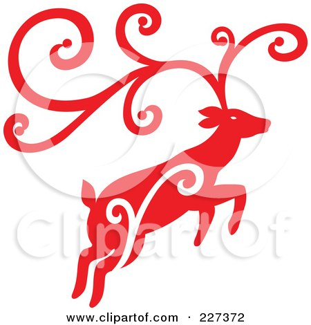 Royalty-Free (RF) Clipart Illustration of a Red Reindeer With Swirl Designs - 4 by Cherie Reve