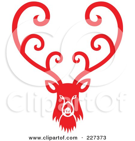 Royalty-Free (RF) Clipart Illustration of a Red Reindeer With Swirl Designs - 1 by Cherie Reve
