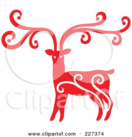 Royalty-Free (RF) Clipart Illustration of a Red Reindeer With Swirl Designs - 6 by Cherie Reve