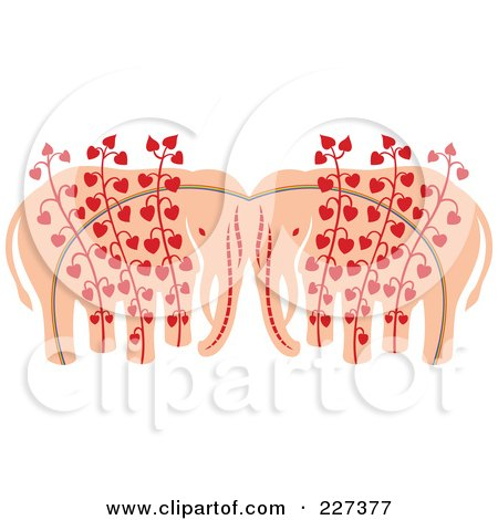 Royalty-Free (RF) Clipart Illustration of an Elephant Pair With Heart Vines by Cherie Reve