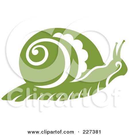Royalty-Free (RF) Clipart Illustration of a Green Snail With Vintage Swirl Designs by Cherie Reve