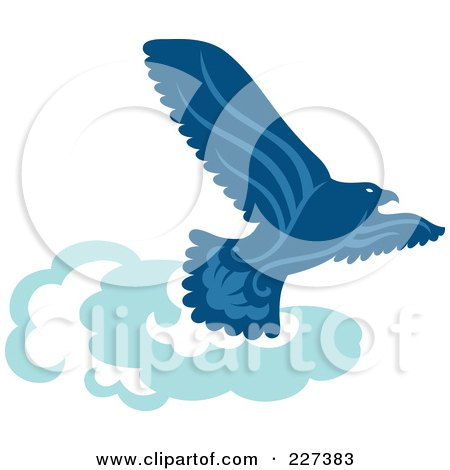 Royalty-Free (RF) Clipart Illustration of a Blue Eagle Soaring Above Clouds by Cherie Reve