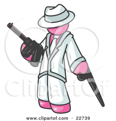 Clipart Illustration of a Pink Gangster Man Carrying a Gun and Leaning on a Cane by Leo Blanchette