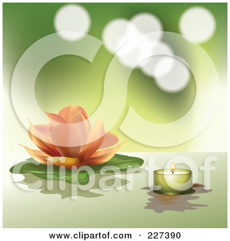 Royalty-Free (RF) Clipart Illustration of a Pastel Orange Lotus And Lily Pad With A Green Tea Light Candle On Green by Eugene