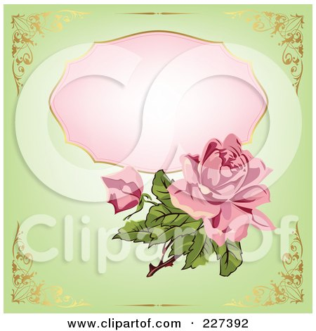 Royalty-Free (RF) Clipart Illustration of a Pink Rose Over A Pink Framce On Green With Golden Corner Borders by Eugene
