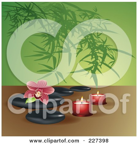 Royalty-Free (RF) Clipart Illustration of a Red Striped Orchid On Spa Stones With Candles Over Bamboo by Eugene