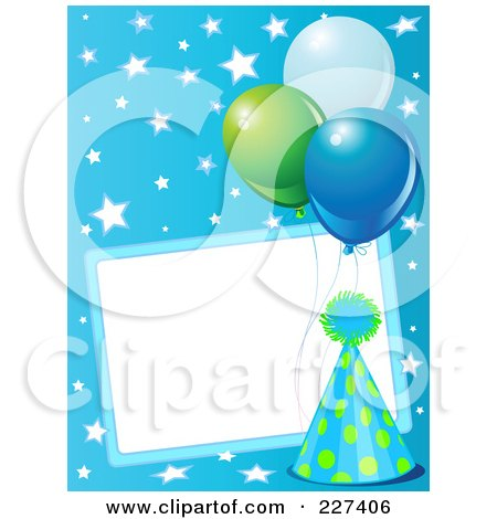 Royalty-Free (RF) Clipart Illustration of a Blank Frame Bordered With A Blue Party Hat, Balloons And Stars On Blue by Pushkin