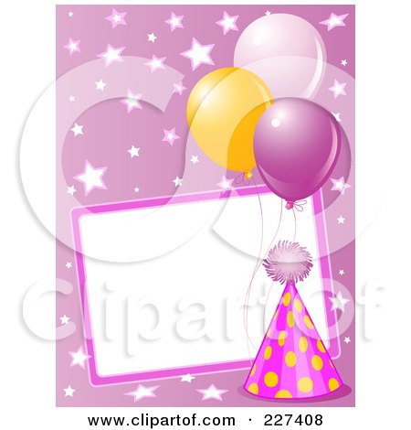 Royalty-Free (RF) Clipart Illustration of a Blank Frame Bordered With A Pink Party Hat, Balloons And Stars On Pink by Pushkin