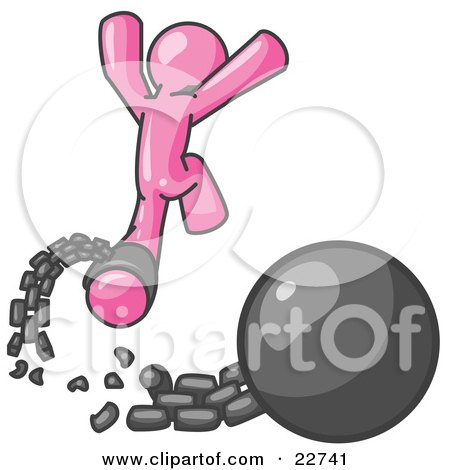 Clipart Illustration of a Pink Man Jumping For Joy While Breaking Away From a Ball and Chain, Symbolizing Freedom From Debt Or Divorce by Leo Blanchette