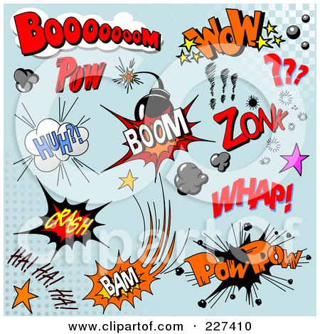 Royalty-Free (RF) Clipart Illustration of a Digital Collage Of Comic Sounds And Icons On Blue - 2 by Pushkin