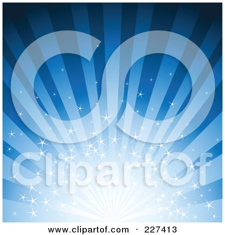 Royalty-Free (RF) Clipart Illustration of a Blue Starry Burst And Ray Background by Pushkin