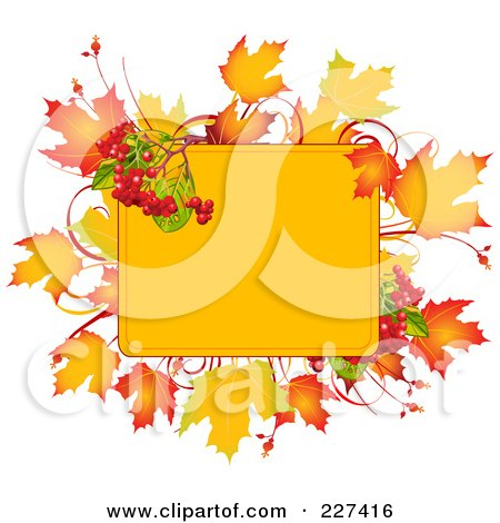 Royalty-Free (RF) Clipart Illustration of a Yellow Box Bordered With Autumn Leaves And Berries by Pushkin