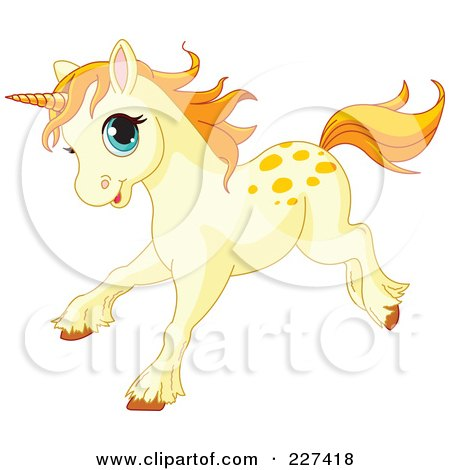 Royalty-Free (RF) Clipart Illustration of a Happy Cream Colored Baby Unicorn Running by Pushkin