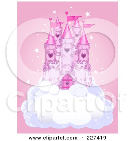 Royalty-Free (RF) Clipart Illustration of a Princess Castle On A Puffy Cloud Over Pink With Stars by Pushkin