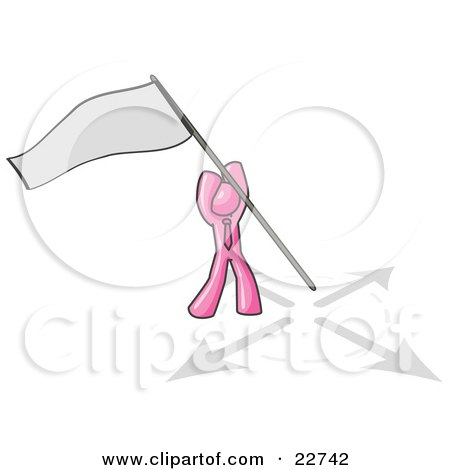 Clipart Illustration of a Pink Man Claiming Territory or Capturing the Flag by Leo Blanchette