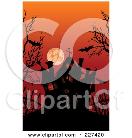 Royalty-Free (RF) Clipart Illustration of a Silhouetted Haunted House Under Bats, Bare Trees And A Red Sky by Pushkin