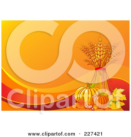 Royalty-Free (RF) Clipart Illustration of an Autumn Background Of Wheat, Leaves, Berries, Corn And Pumpkins On Orange With Waves by Pushkin