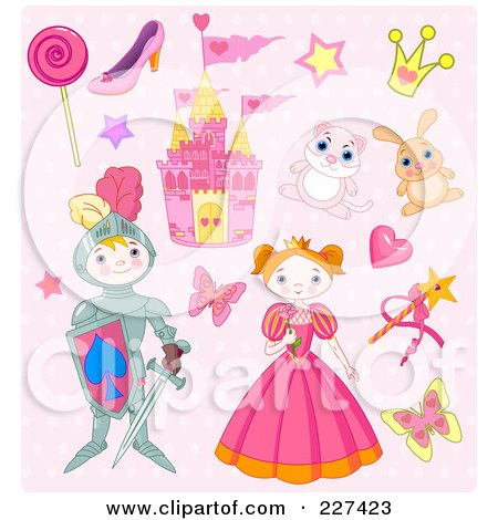 Royalty-Free (RF) Clipart Illustration of a Digital Collage Of Princess And Knight Icons On Pink by Pushkin
