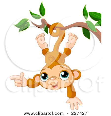 Royalty-Free (RF) Clipart Illustration of a Cute Baby Monkey Hanging Upside Down by Pushkin