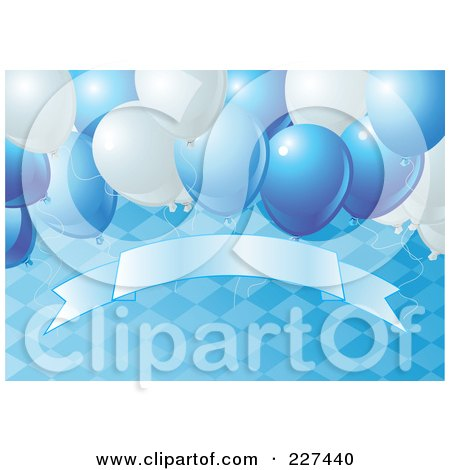 Royalty-Free (RF) Clipart Illustration of a Blue Oktoberfest Background Of A Diamond Pattern, Balloons And A Blank Banner - 2 by Pushkin